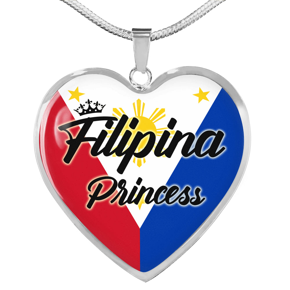 Filipina Princess Necklace Stainless Steel or 18k Gold Heart Pendant 18-22''