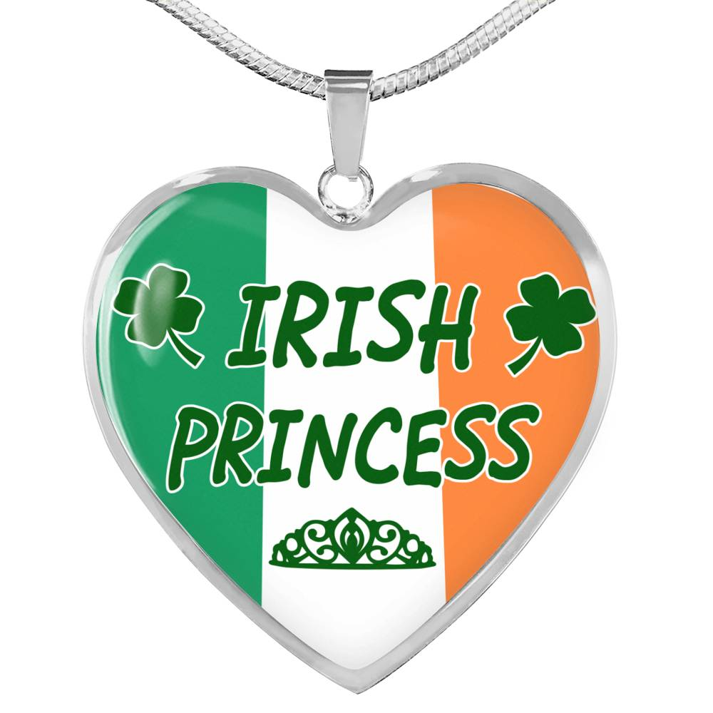 Irish Princess Necklace Stainless Steel or 18k Gold Heart Pendant 18-22''