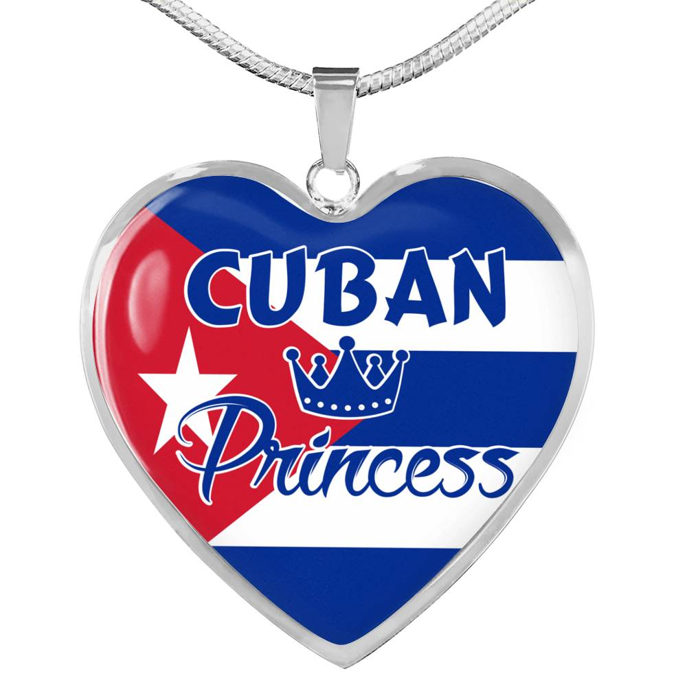 Cuban Princess Necklace Stainless Steel or 18k Gold Heart Pendant 18-22''
