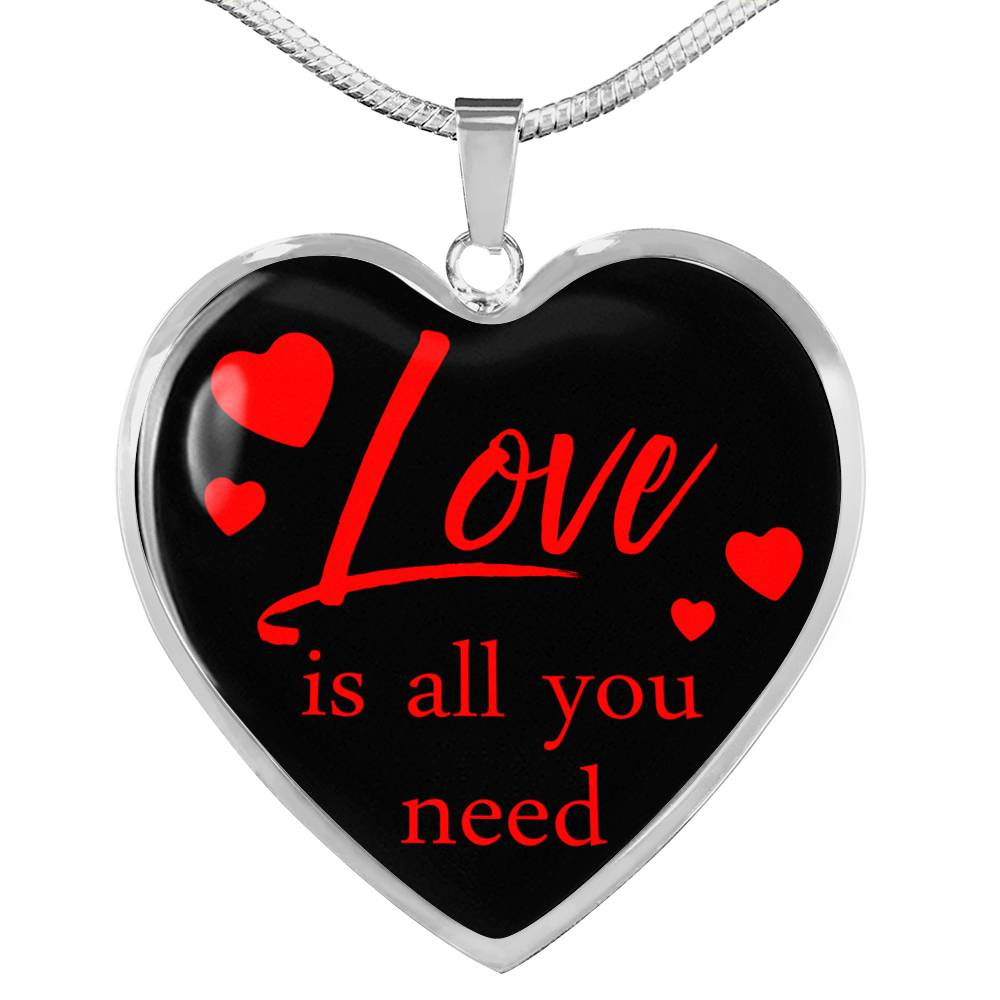 Love is You Need Necklace Stainless Steel or 18k Gold Heart Pendant 18-22''