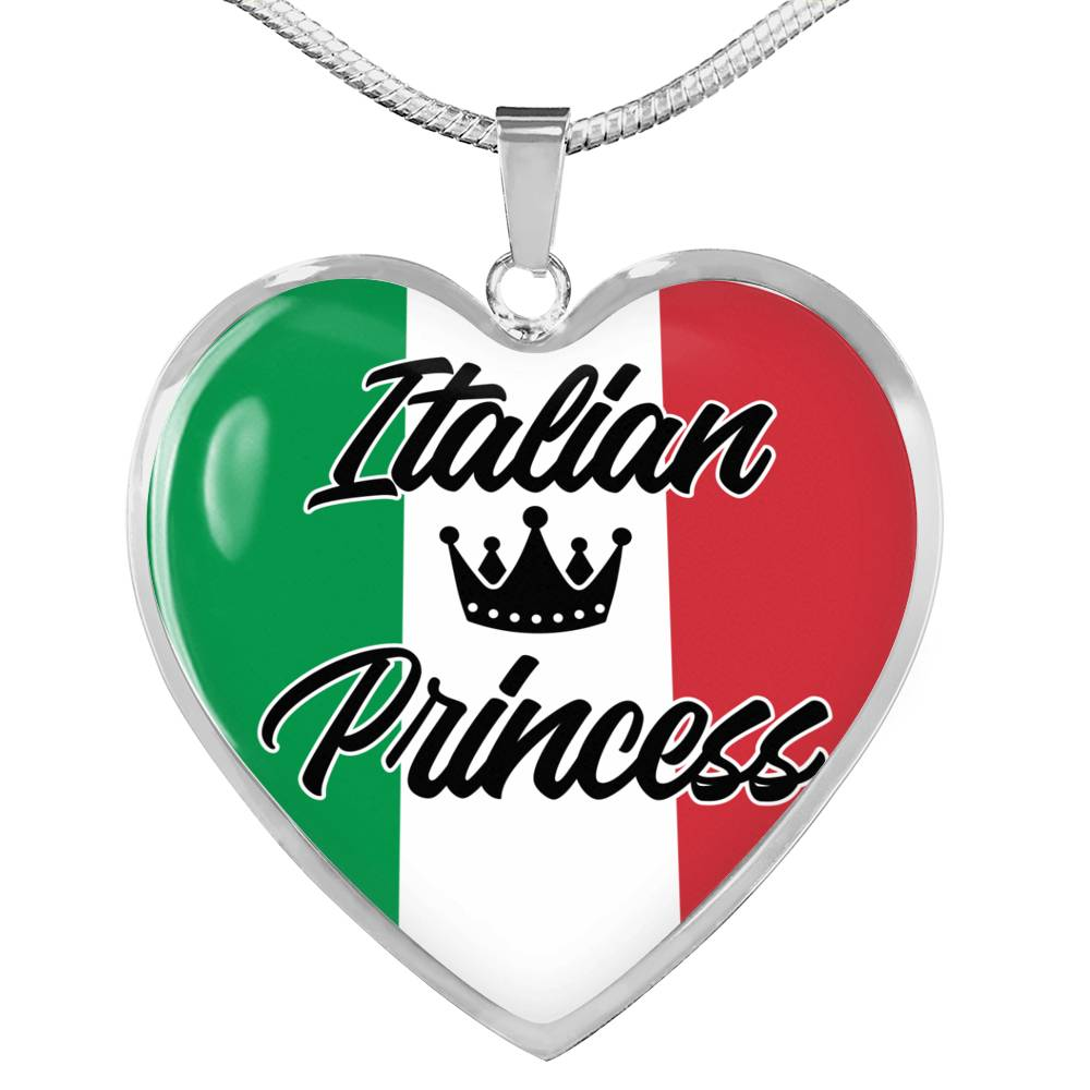 Italian Princess Necklace Stainless Steel or 18k Gold Heart Pendant 18-22''