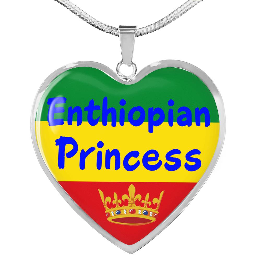 Enthiopian Princess Necklace Stainless Steel or 18k Gold Heart Pendant 18-22'