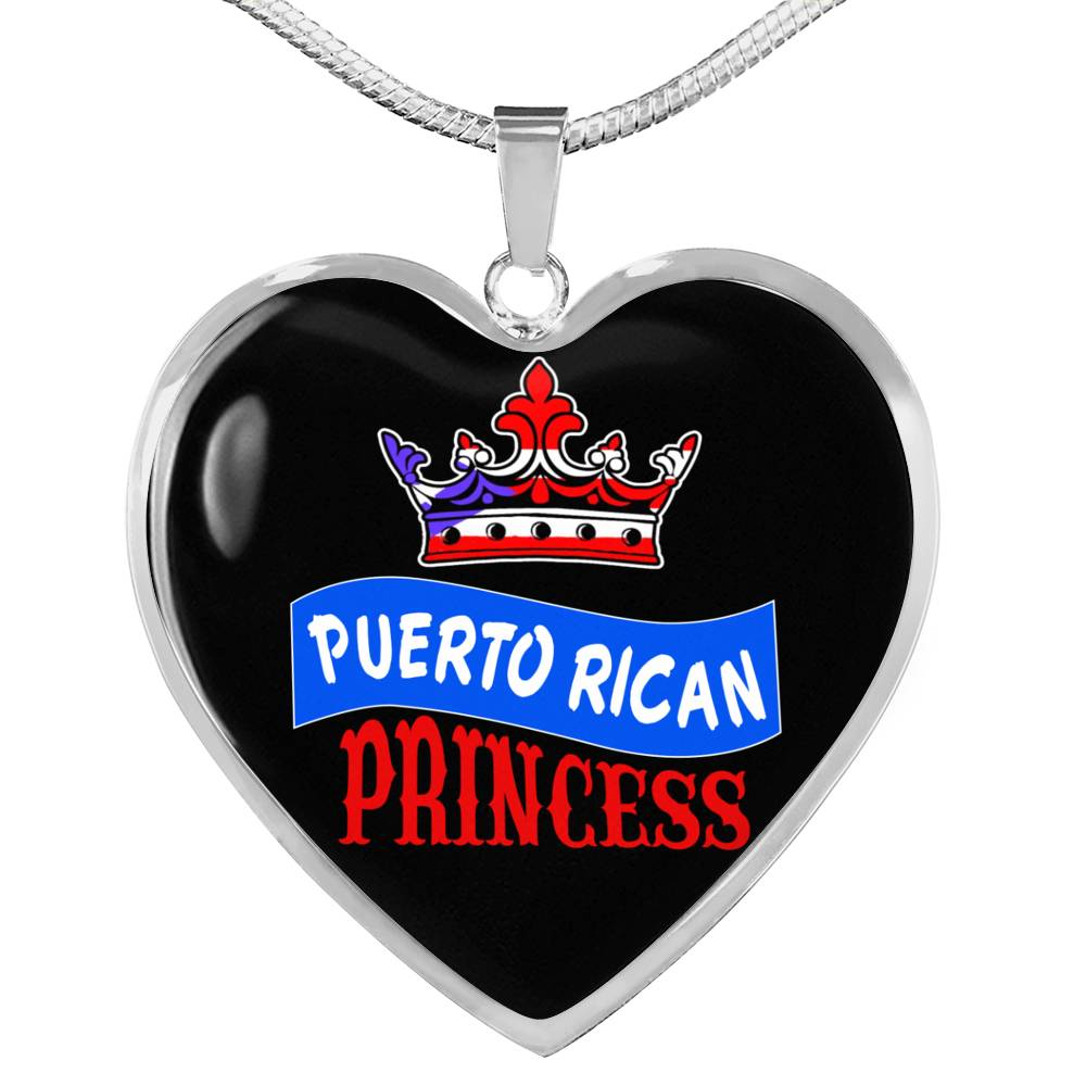 Puerto Rican Princess Necklace Stainless Steel or 18k Gold Heart Pendant 18-22''