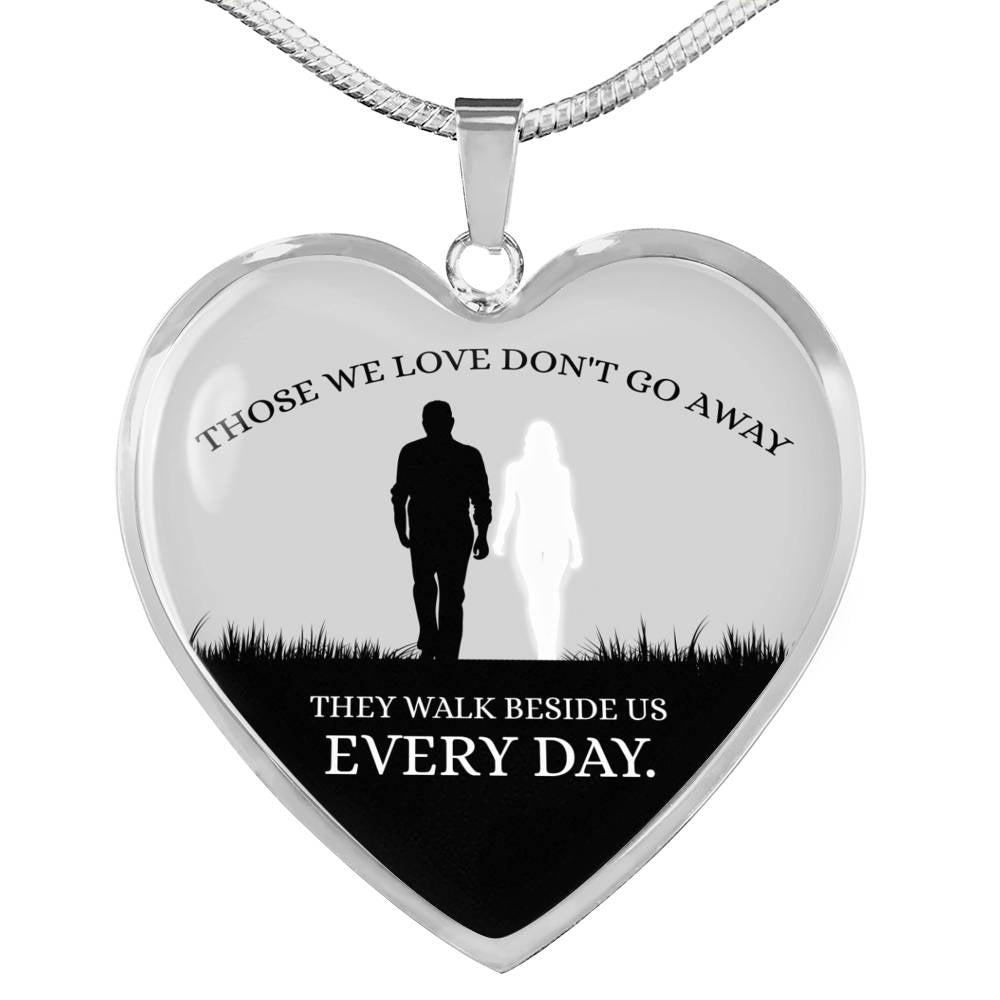 Those We Love Don't Go Away Couple Necklace Stainless Steel or 18k Gold Heart Pendant 18-22