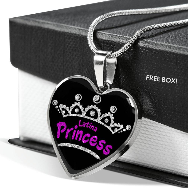 Latina Princess Necklace Stainless Steel or 18k Gold Heart Pendant 18-22'