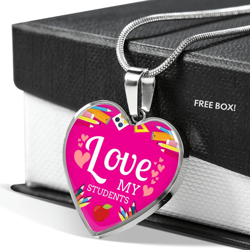 Love my Students Teacher Appreciation Gift Necklace Stainless Steel or 18k Gold Heart Pendant 18-22