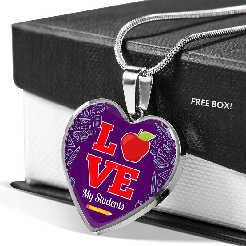 Love my Students Teacher Necklace Stainless Steel or 18k Gold Heart Pendant 18-22