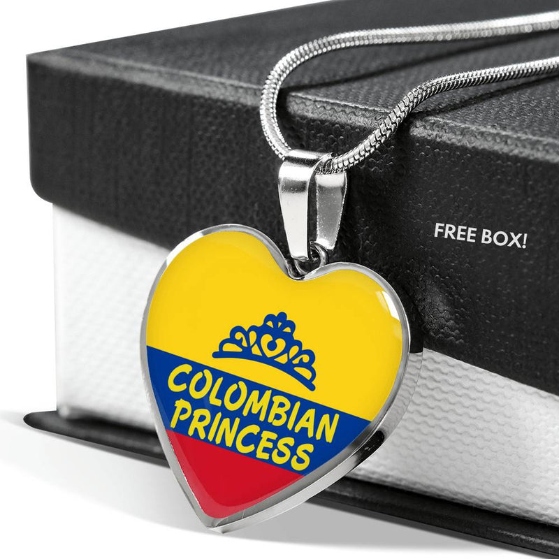 Colombian Princess Necklace Stainless Steel or 18k Gold Heart Pendant 18-22'