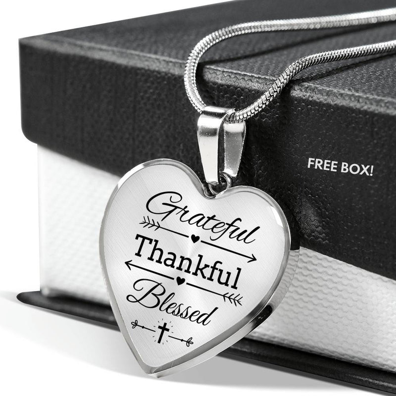 Grateful Thankful Blessed Faith Gear Jewelry Necklace Stainless Steel or 18k Gold Heart Pendant 18-22