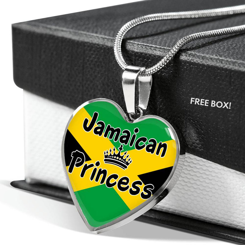 Jamaican Princess Necklace Stainless Steel or 18k Gold Heart Pendant 18-22''