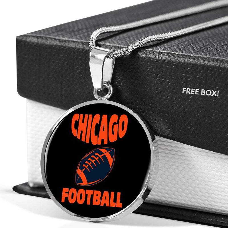 Chicago Circle Pendant Football Fan Necklace Stainless Steel or 18k Gold 18-22""