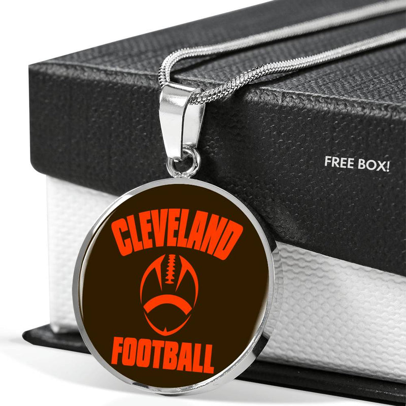 Cleveland Circle Pendant Football Fan Necklace Stainless Steel or 18k Gold 18-22""
