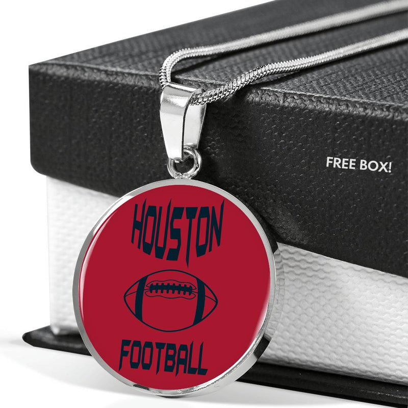Houston Circle Pendant Football Fan Necklace Stainless Steel or 18k Gold 18-22""
