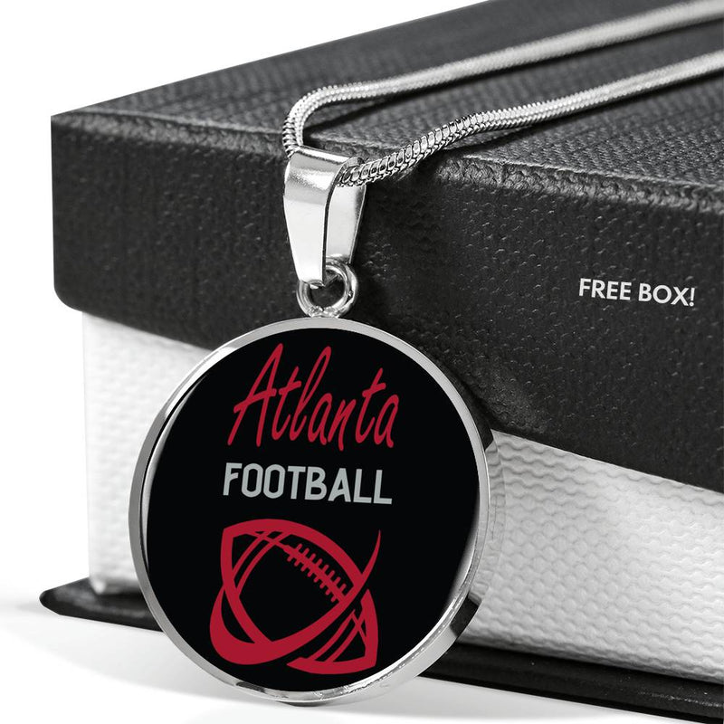 Atlanta Circle Pendant Football Fan Necklace Stainless Steel or 18k Gold 18-22""