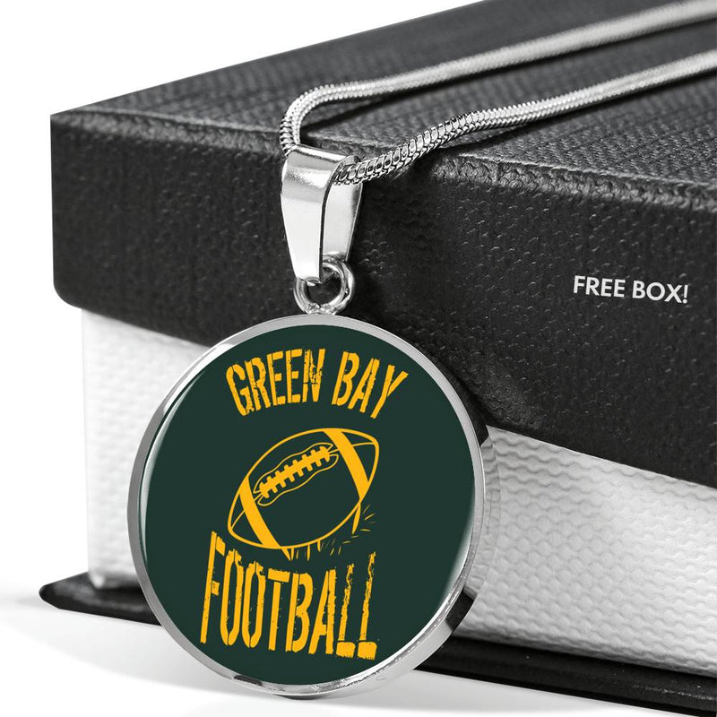Green Bay Circle Pendant Football Fan Necklace Stainless Steel or 18k Gold 18-22""