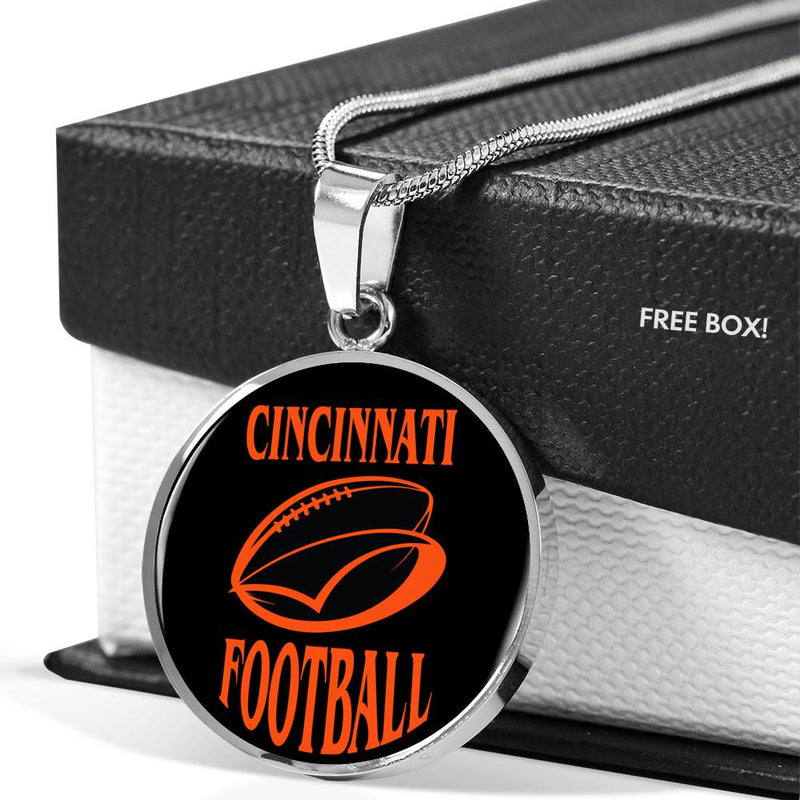 Cincinnati Circle Pendant Football Fan Necklace Stainless Steel or 18k Gold 18-22""