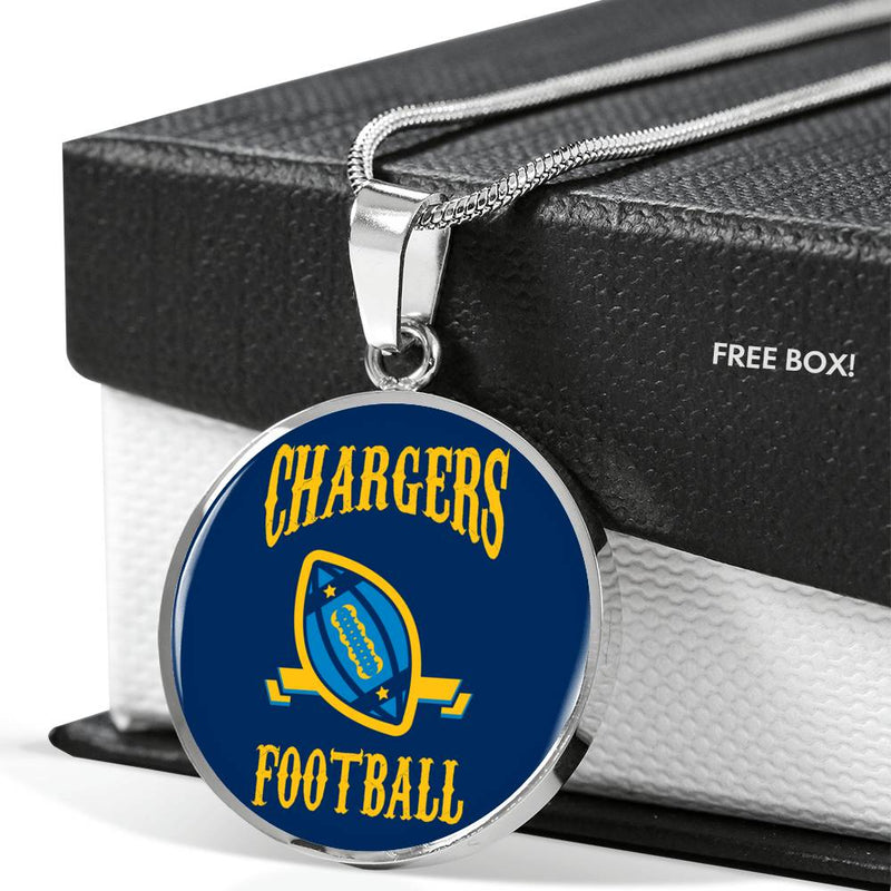Chargers Football Circle Pendant Football Fan Necklace Stainless Steel or 18k Gold 18-22""