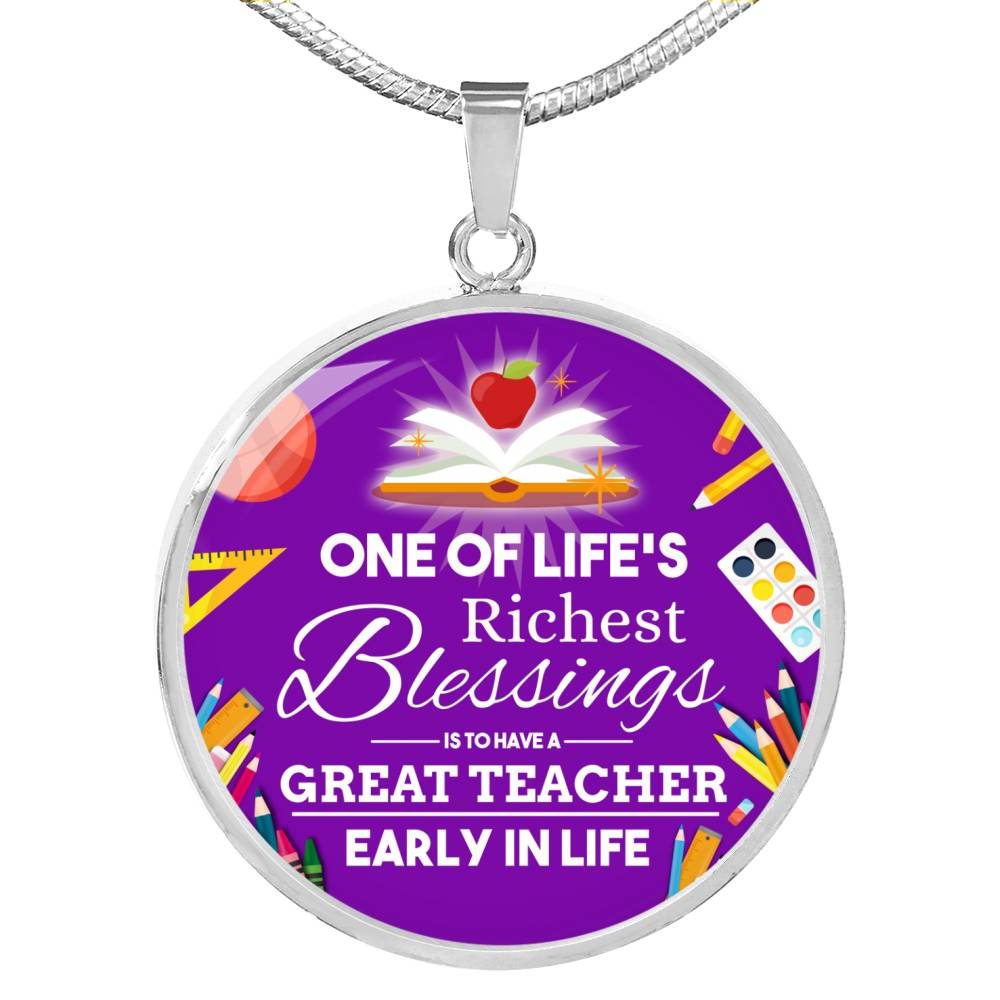 Teacher Appreciation Gift Circle Pendant Necklace Stainless Steel or 18k Gold 18-22