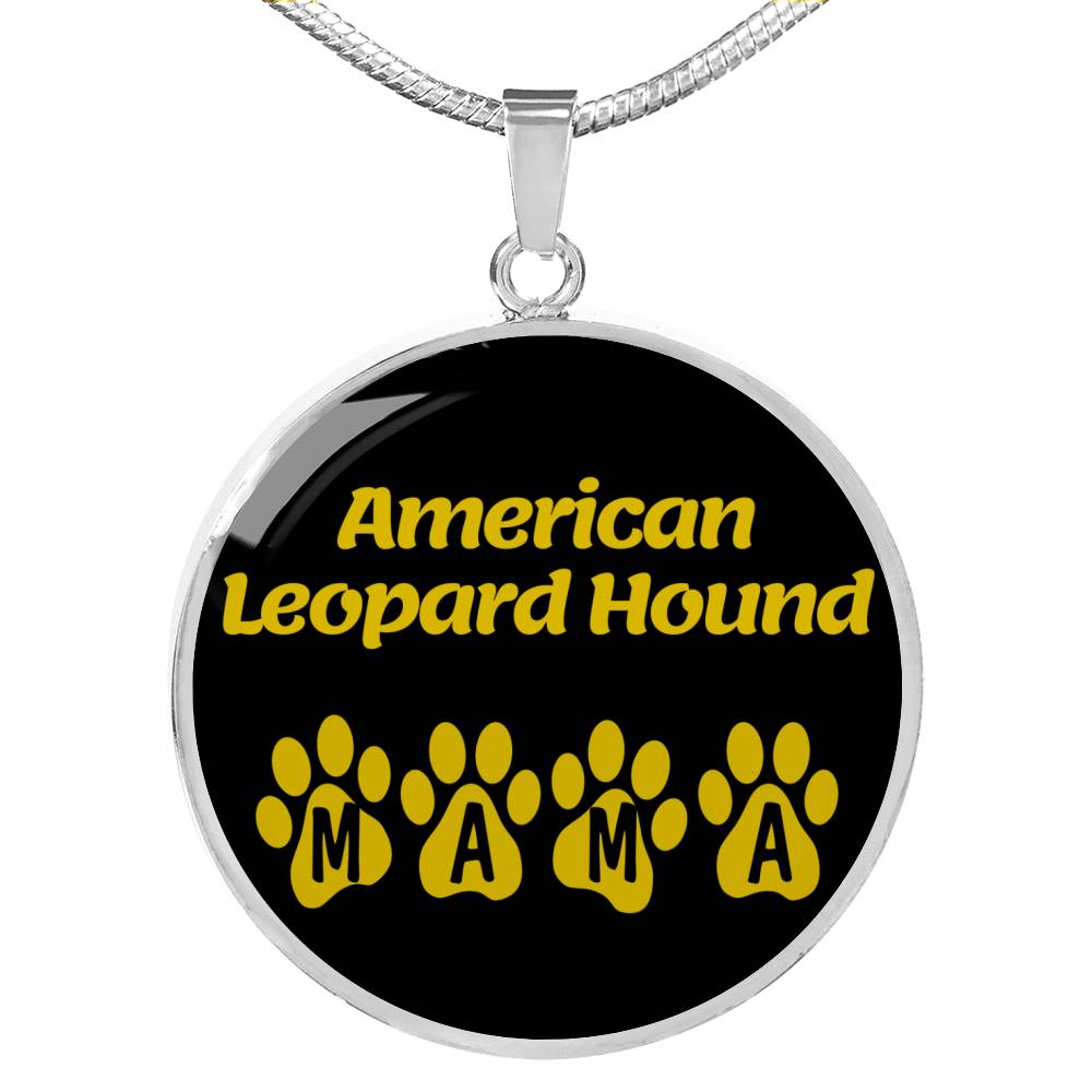 "Dog Lover Gift American Leopard Hound Mama Circle Necklace Stainless Steel or 18k Gold 18-22"" , - Express Your Love Gifts"