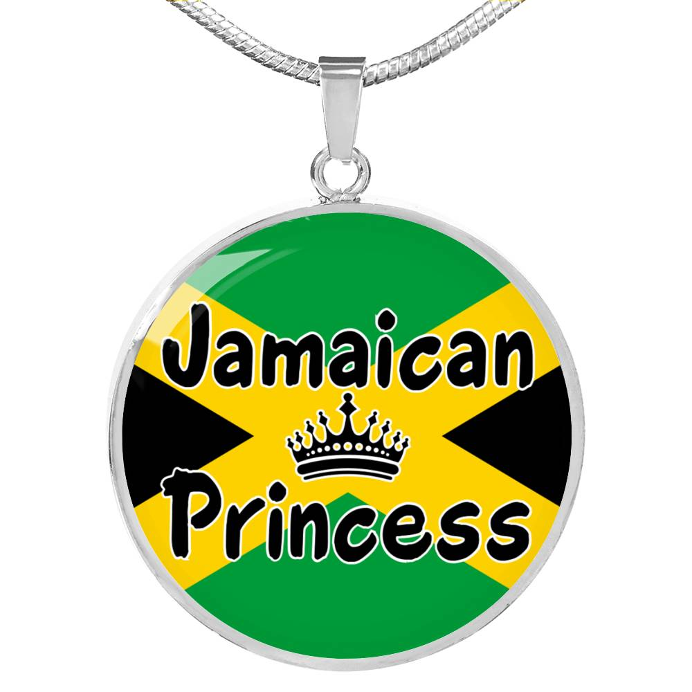 Jamaican Princess Circle Pendant Necklace Stainless Steel or 18k Gold 18-22""