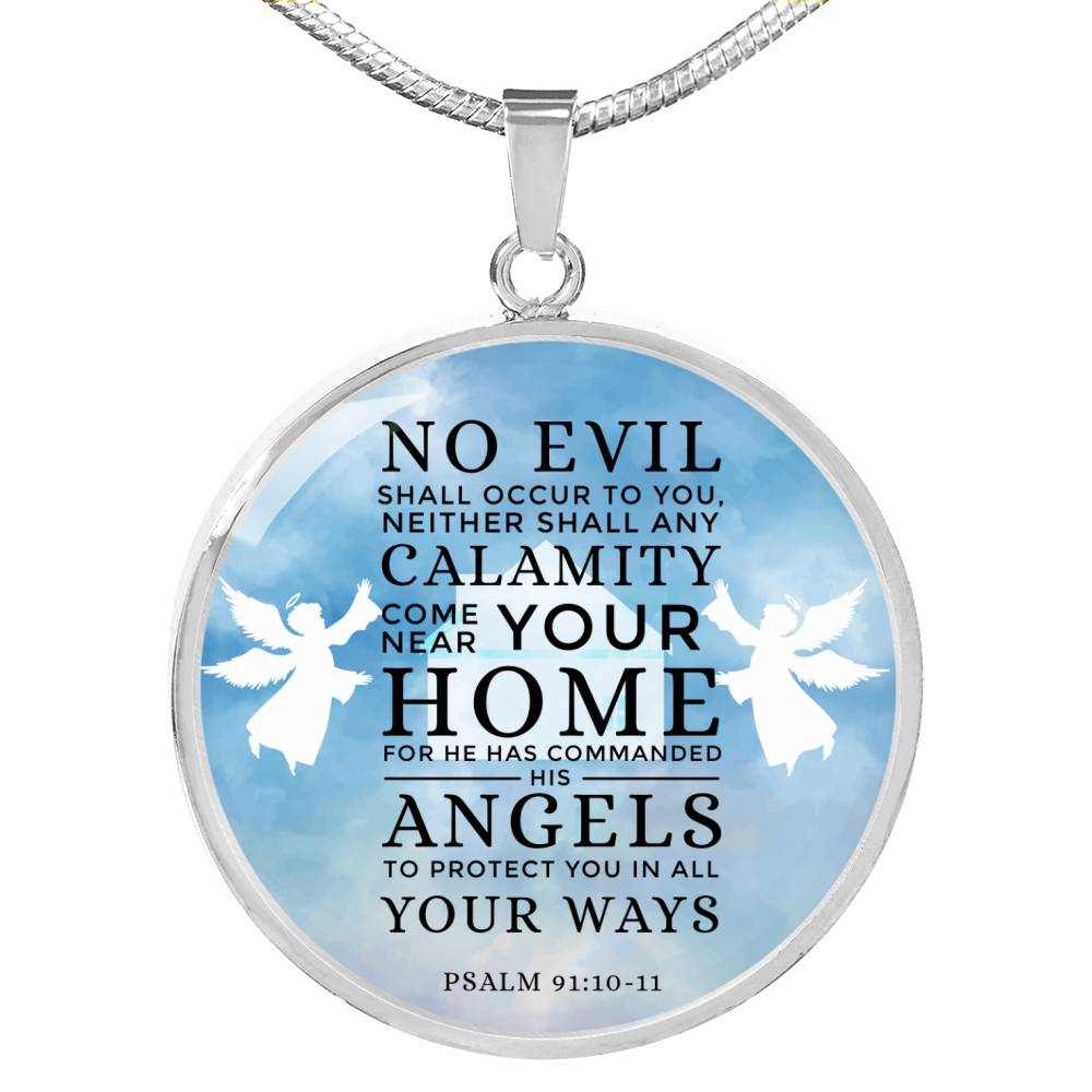Guardian Angel Psalm 91:10-11 Circle Pendant Necklace Stainless Steel or 18k Gold 18-22
