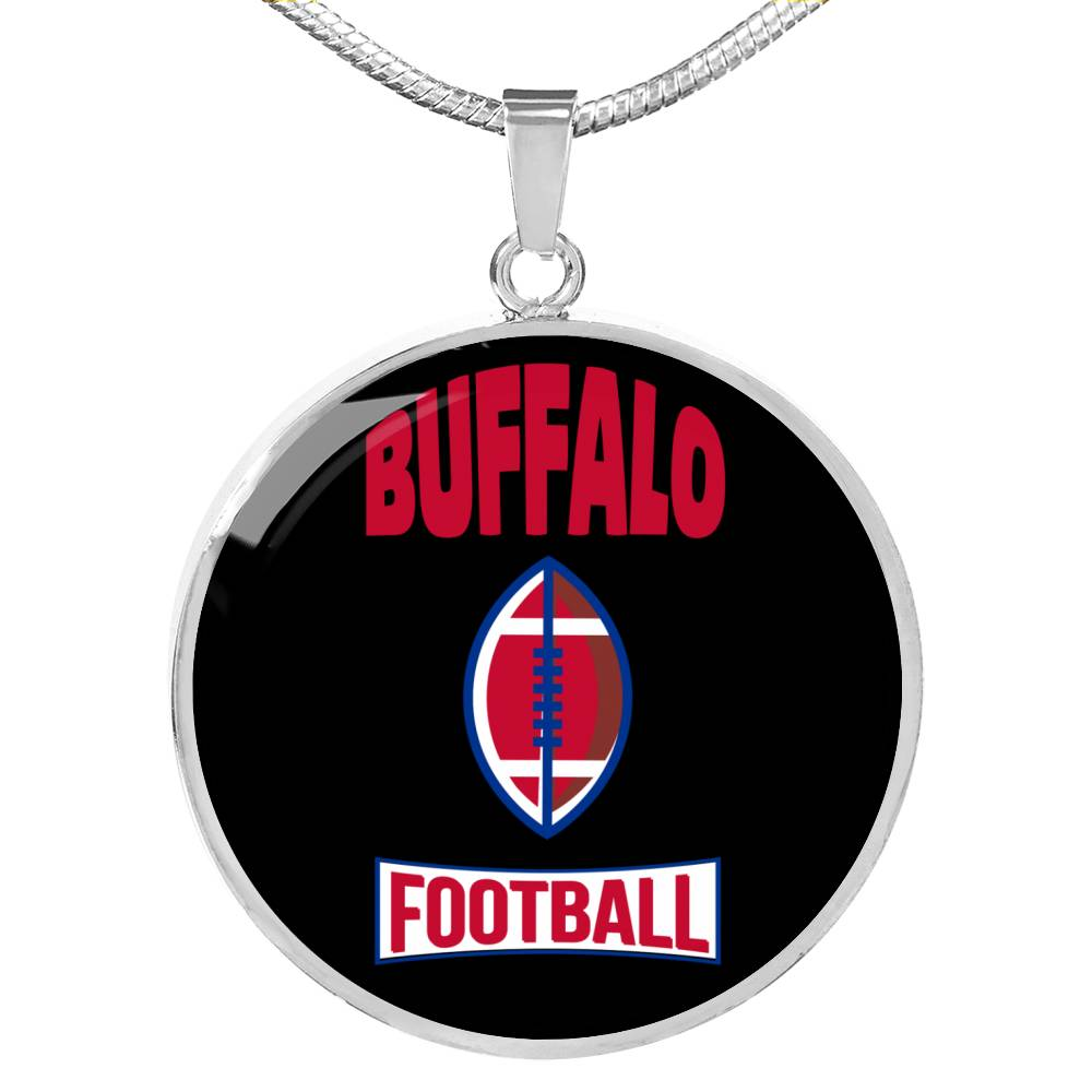 Buffalo Circle Pendant Football Fan Necklace Stainless Steel or 18k Gold 18-22""