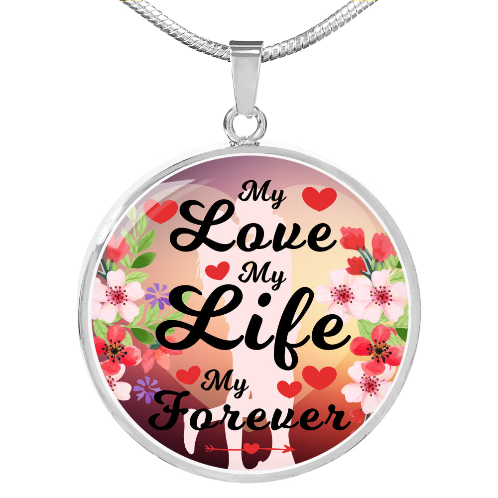 "Love Message Gift, Circle Pendant Necklace Stainless Steel or 18k Gold 18-22"", gift for Her"