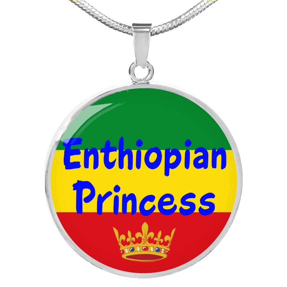 Enthiopian Princess Circle Pendant Necklace Stainless Steel or 18k Gold 18-22""