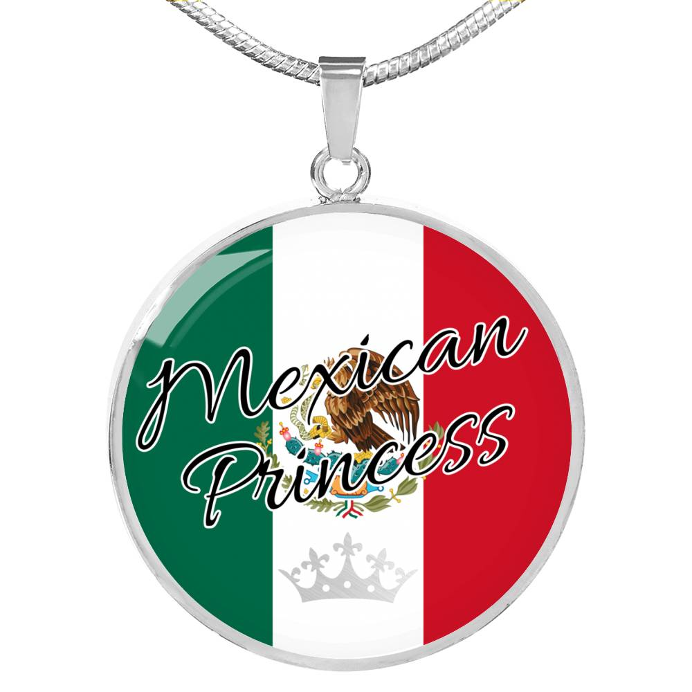 Mexican Princess Circle Pendant Necklace Stainless Steel or 18k Gold 18-22""