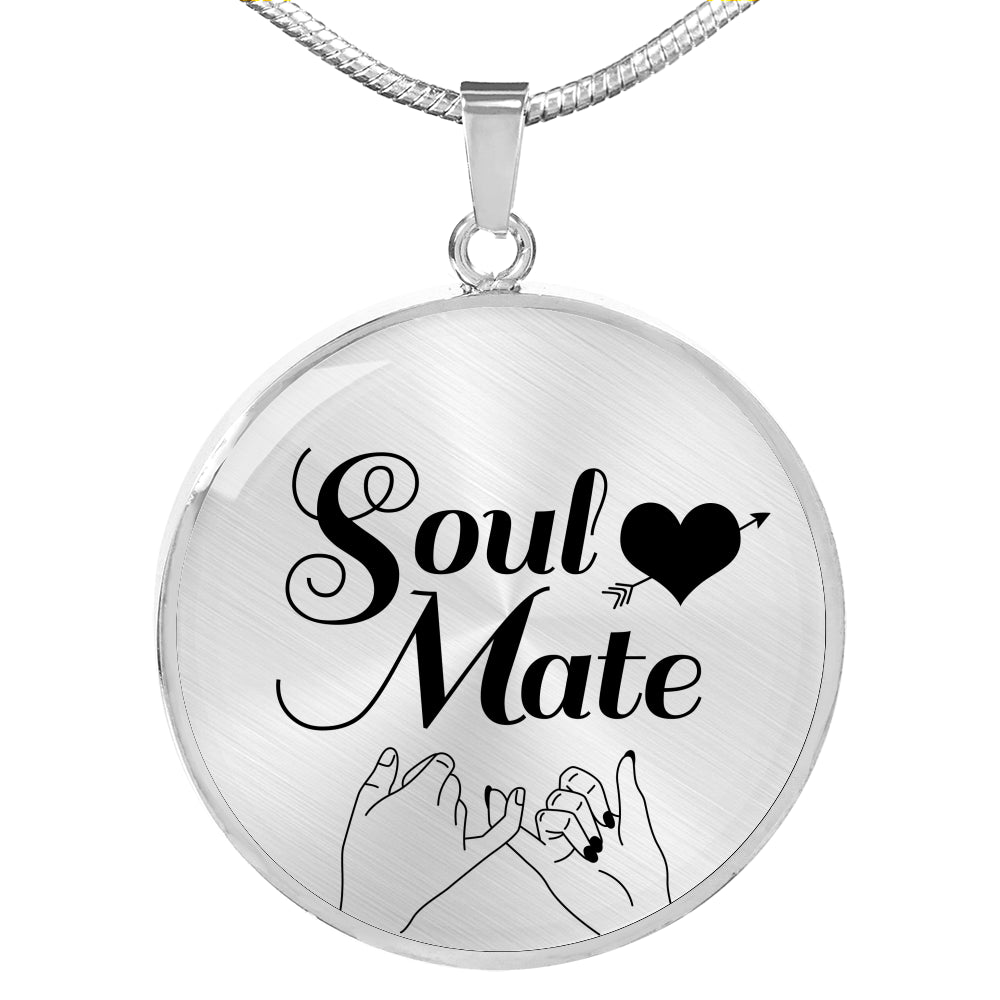 Love Jewelry Gift, Soul Mate Circle Pendant Necklace Stainless Steel or 18k Gold 18-22""