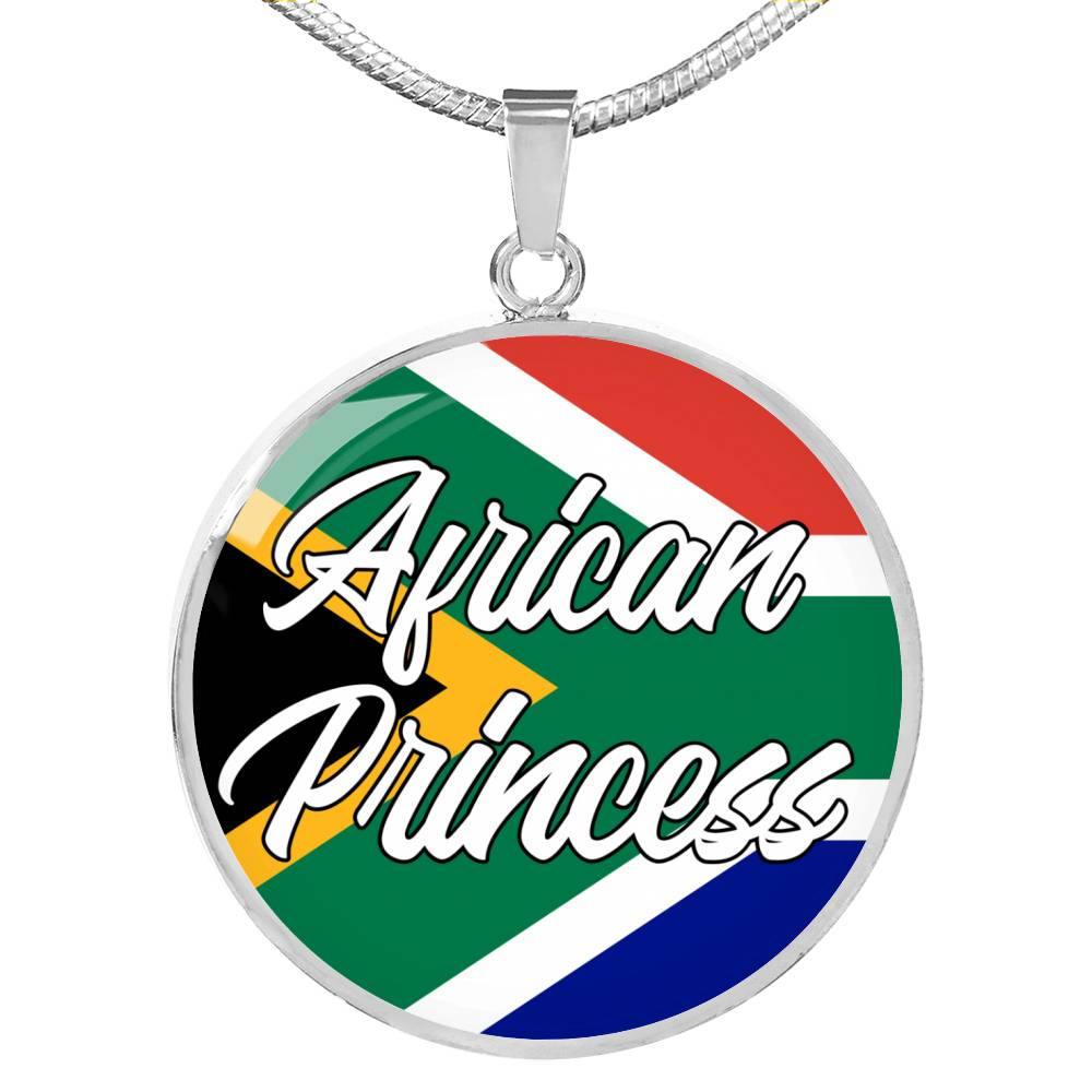 African Princess Circle Pendant Necklace Stainless Steel or 18k Gold 18-22""