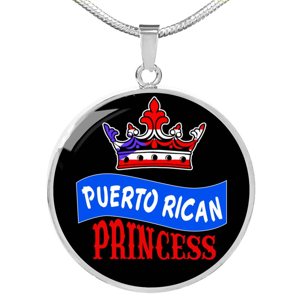 Puerto Rican Princess Circle Pendant Necklace Stainless Steel or 18k Gold 18-22""