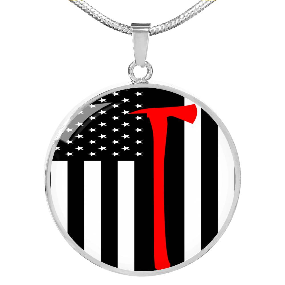 Firefighter Flag w Axe Circle Pendant Necklace Stainless Steel or 18k Gold 18-22