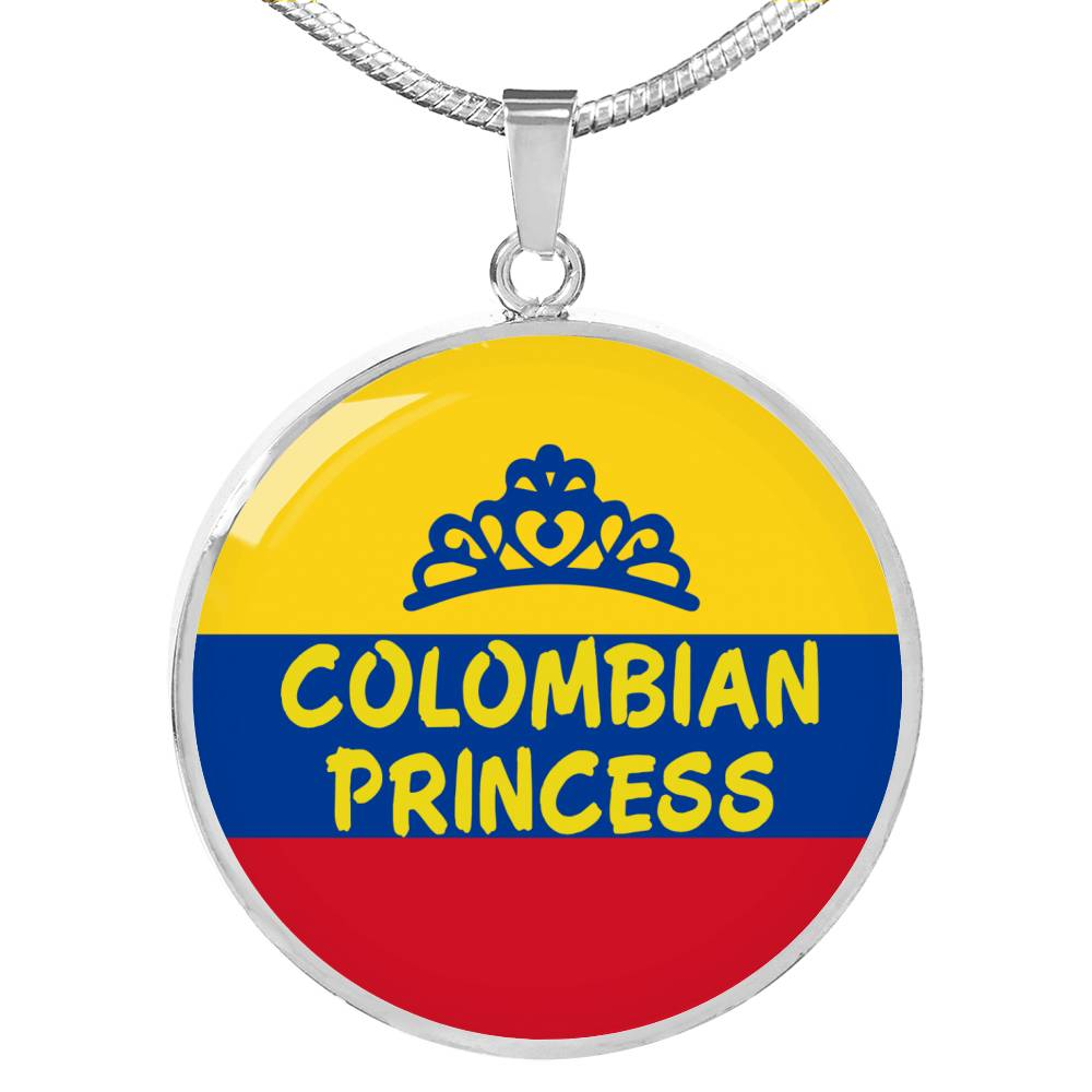 Colombian Princess Circle Pendant Necklace Stainless Steel or 18k Gold 18-22""
