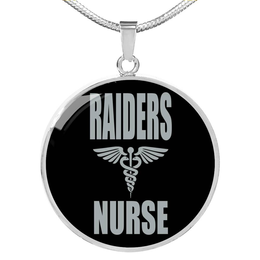 Raiders Fan Nurse, Raiders Football Necklace, Circle Pendant Stainless Steel or 18k Gold 18-22""