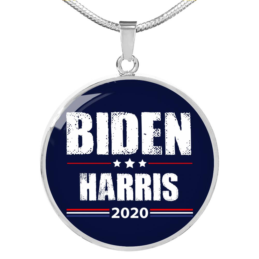 Biden Harris Necklace 2020 Circle Pendant Necklace Stainless Steel or 18k Gold 18-22