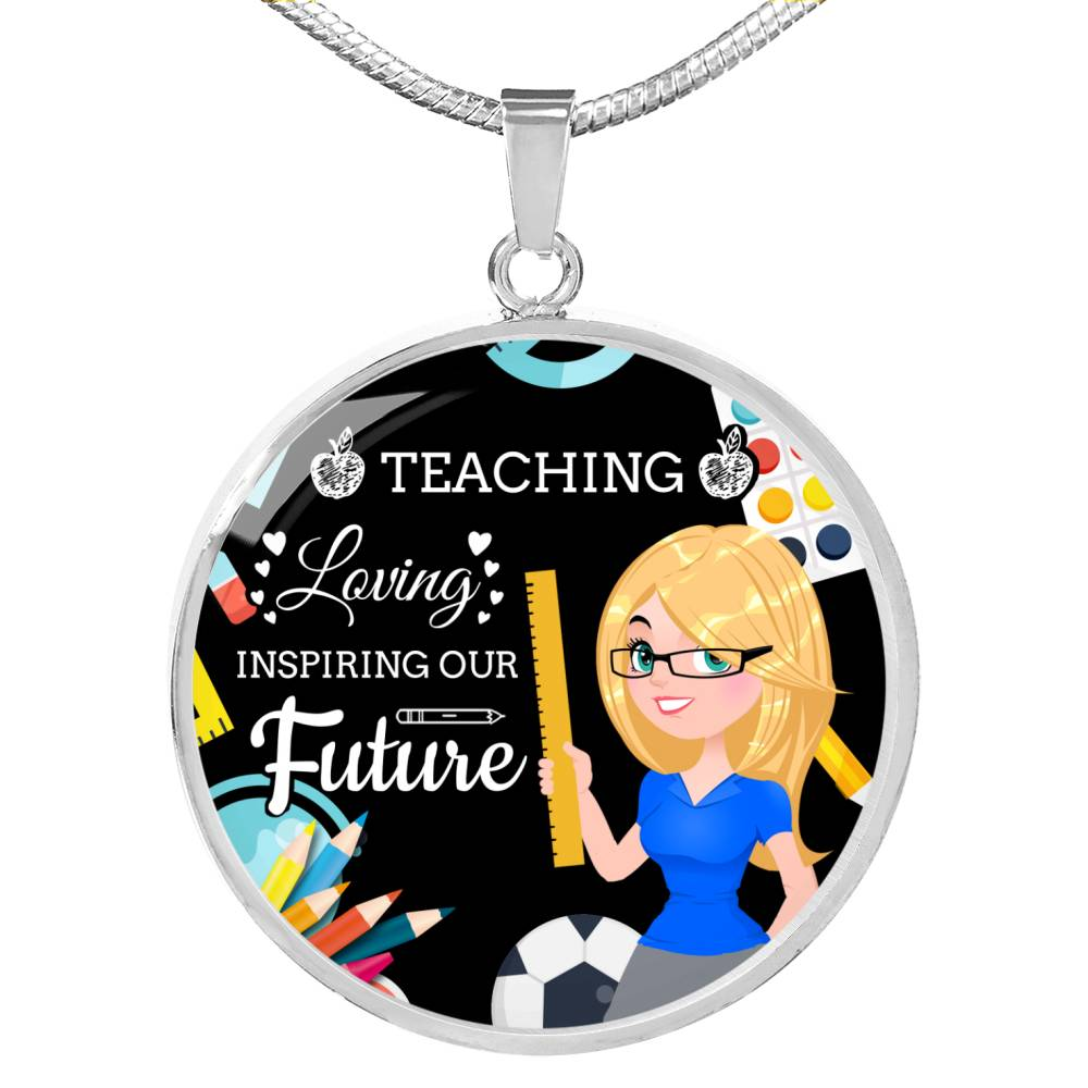 "Teacher Appreciation Future Teacher Gift Circle Pendant Stainless Steel or 18k Gold - 18""-22"""