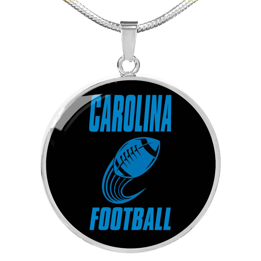 Carolina Circle Pendant Football Fan Necklace Stainless Steel or 18k Gold 18-22""