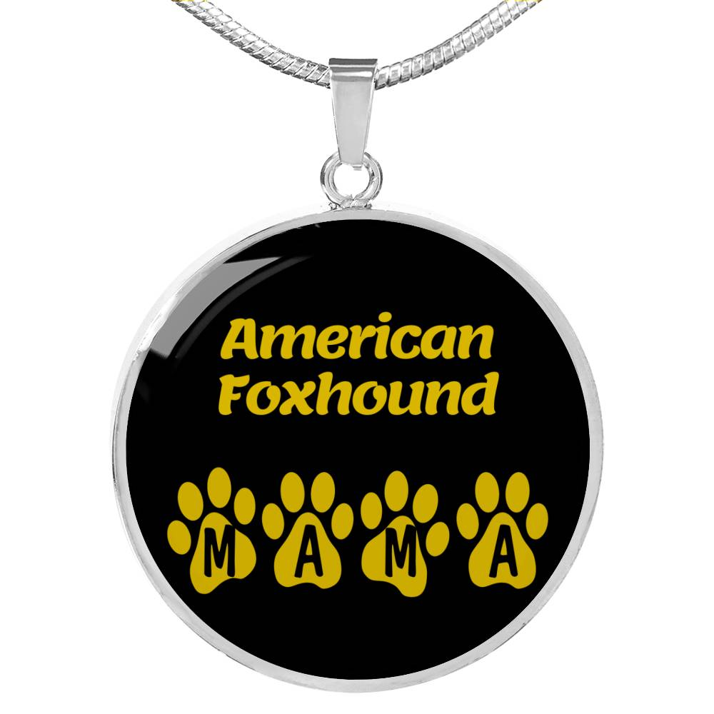 "Dog Lover Gift American Foxhound Mama Circle Necklace Stainless Steel or 18k Gold 18-22"" , - Express Your Love Gifts"