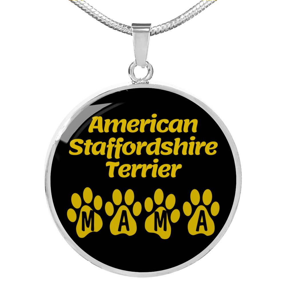 "Dog Lover Gift American Staffordshire Terrier Mama Circle Necklace Stainless Steel or 18k Gold 18-22"" , - Express Your Love Gifts"