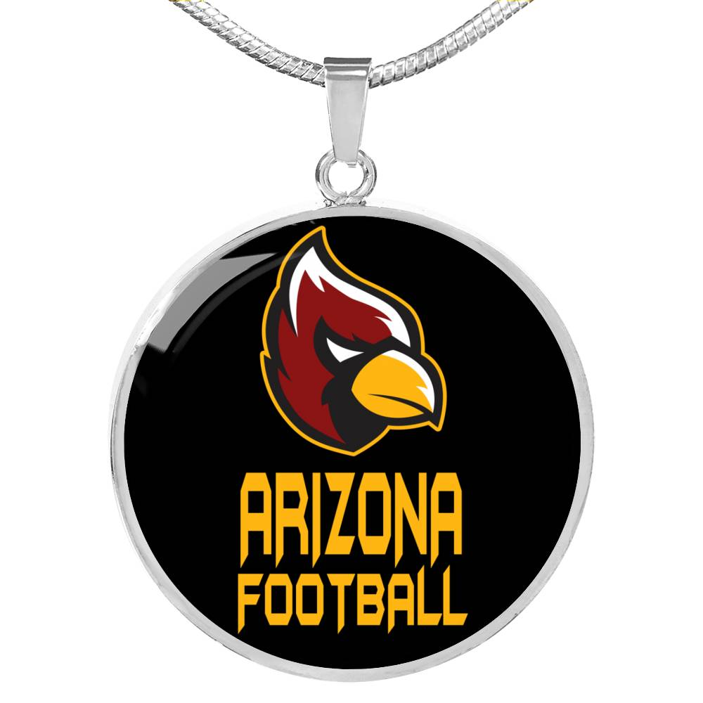 Arizona Circle Pendant Football Fan Necklace Stainless Steel or 18k Gold 18-22""