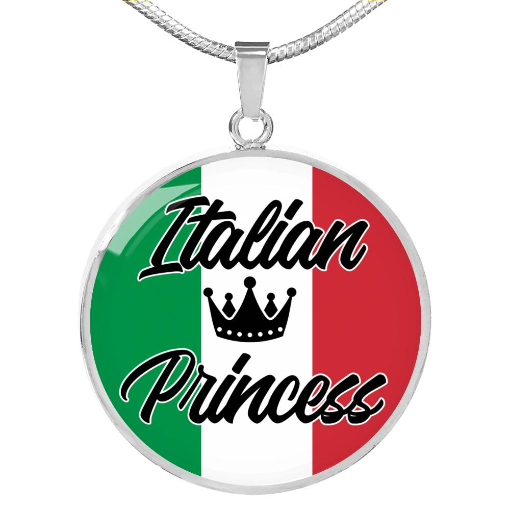 Italian Princess Circle Pendant Necklace Stainless Steel or 18k Gold 18-22""