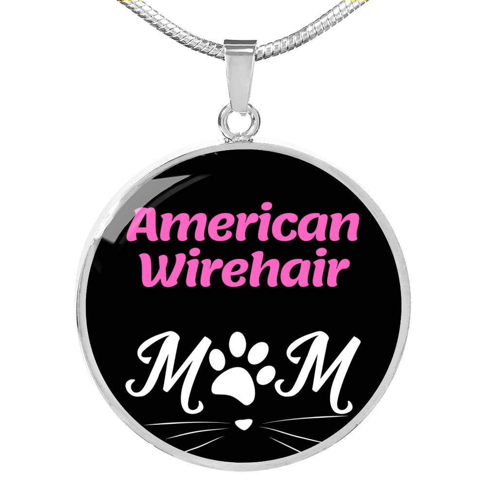 "Cat Lover American Wirehair Cat Mom Necklace Circle Pendant Stainless Steel Or 18kGold 18-22"" - Express Your Love Gifts"