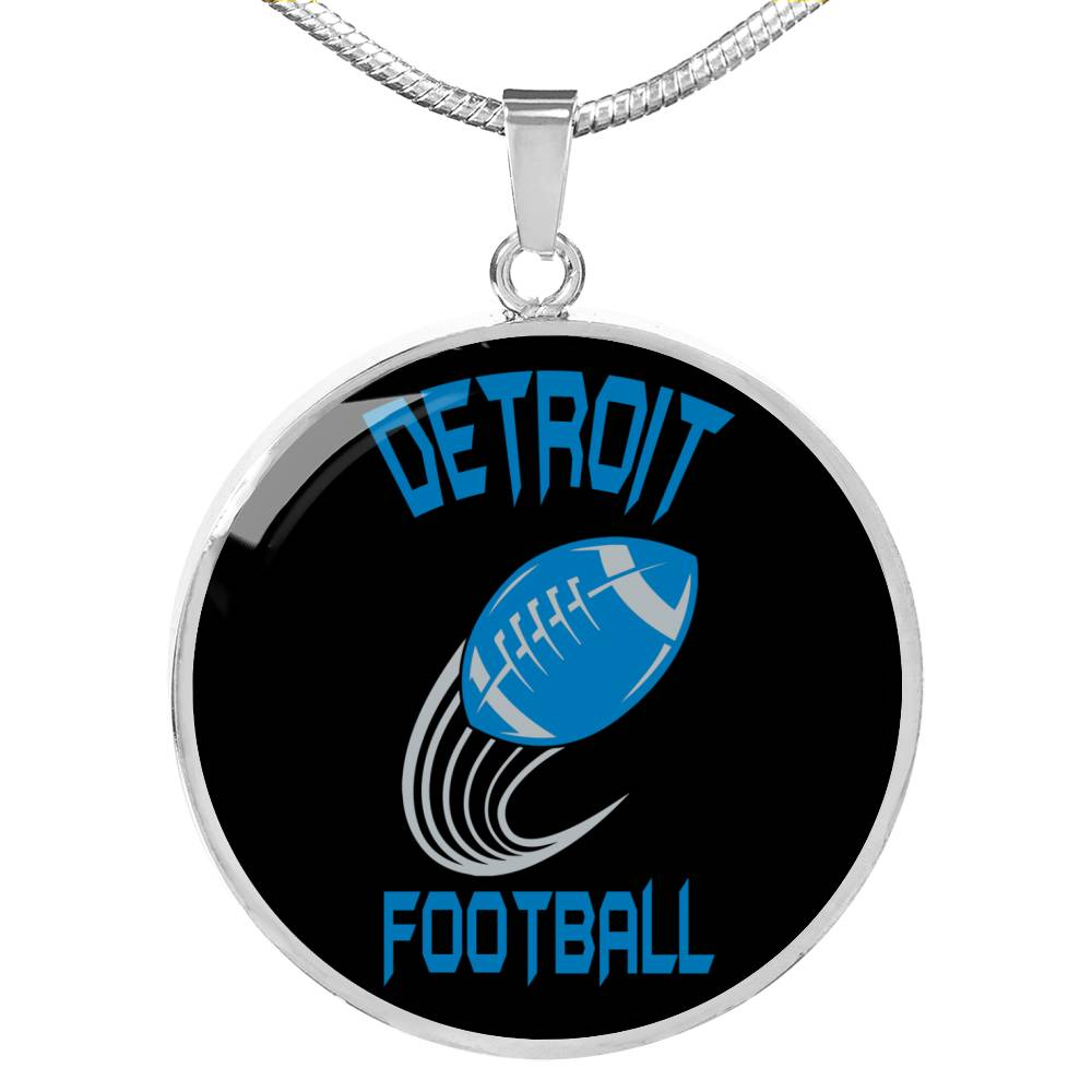 Detroit Circle Pendant Football Fan Necklace Stainless Steel or 18k Gold 18-22""