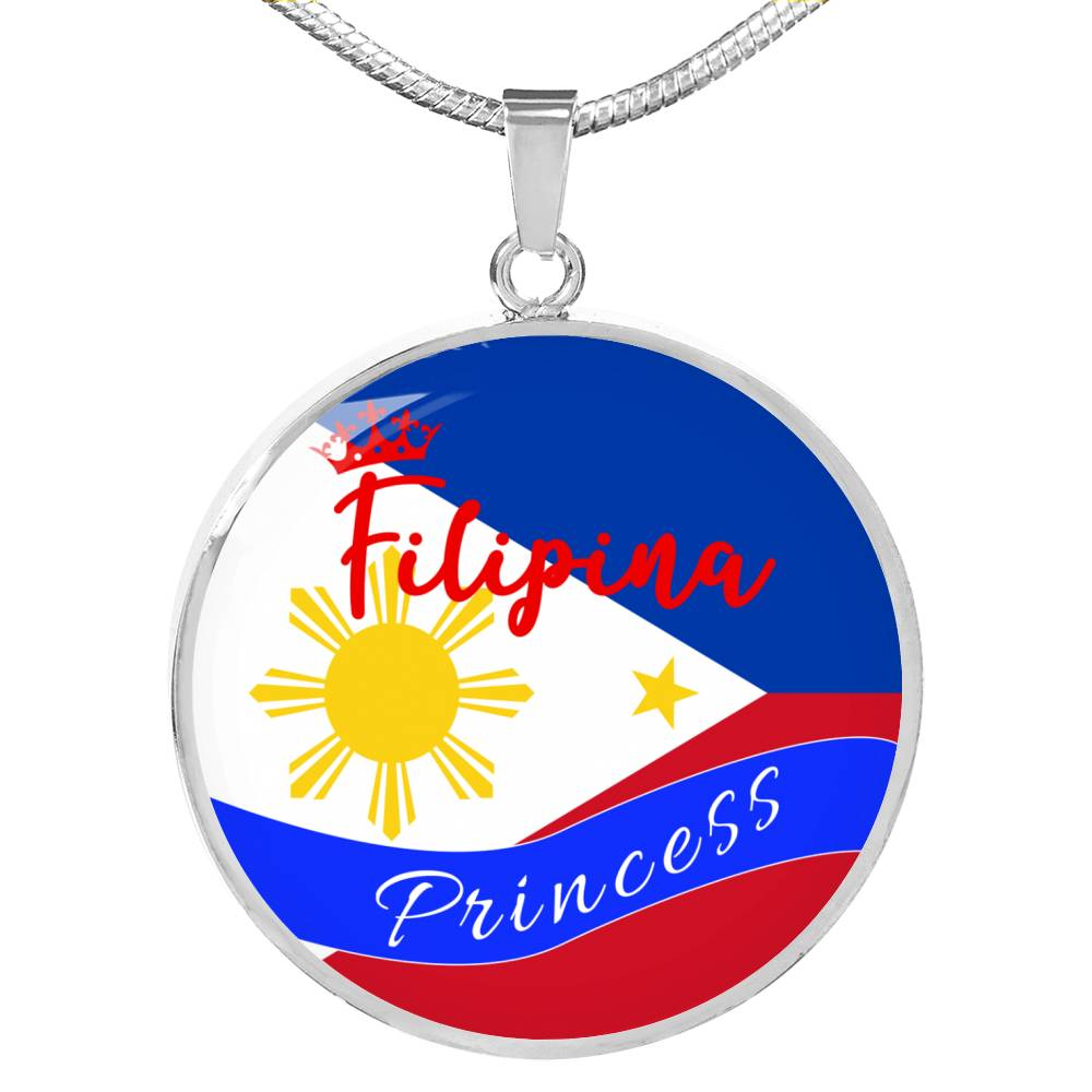 Filipina Princess Circle Pendant Necklace Stainless Steel or 18k Gold 18-22""