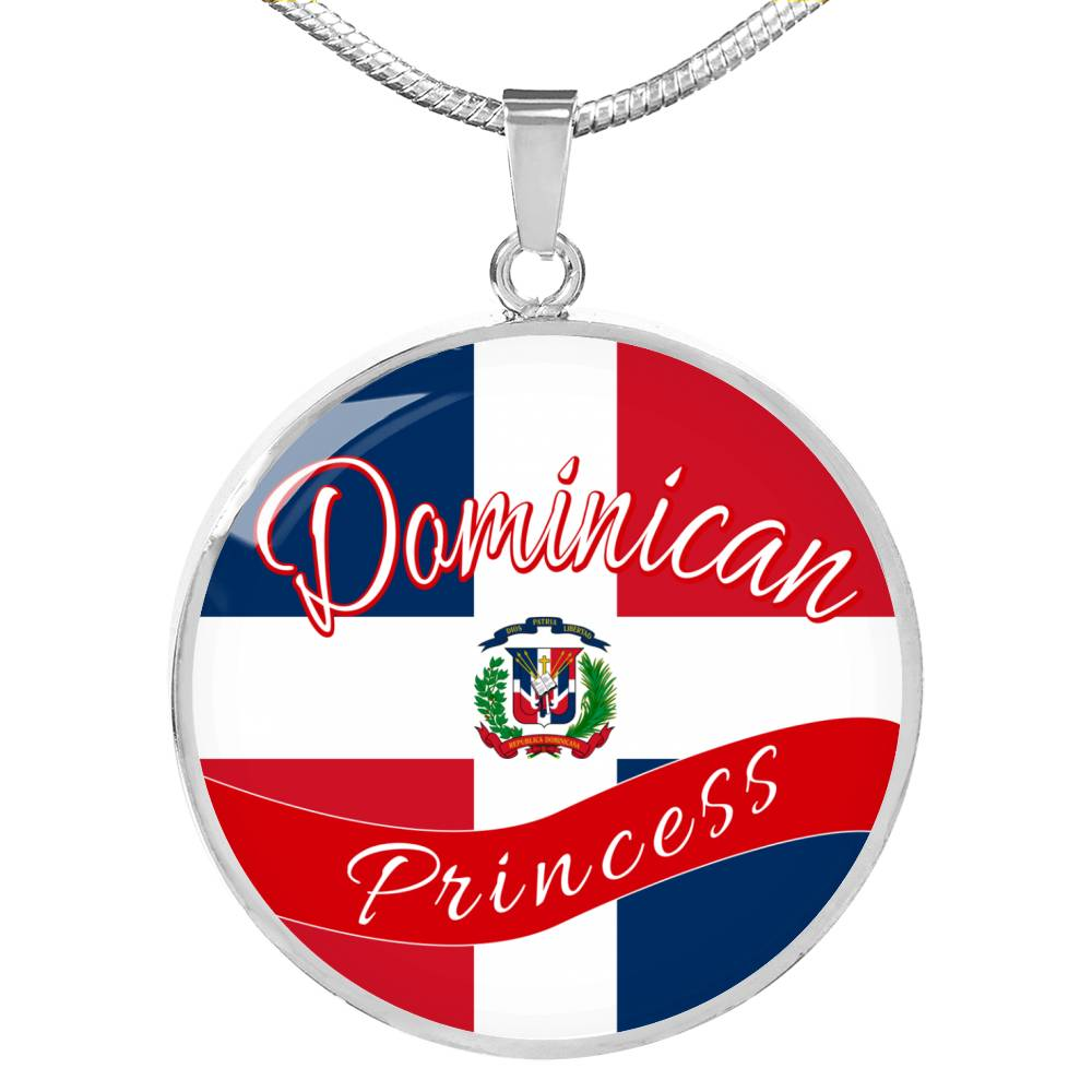 Dominican Princess Circle Pendant Necklace Stainless Steel or 18k Gold 18-22""