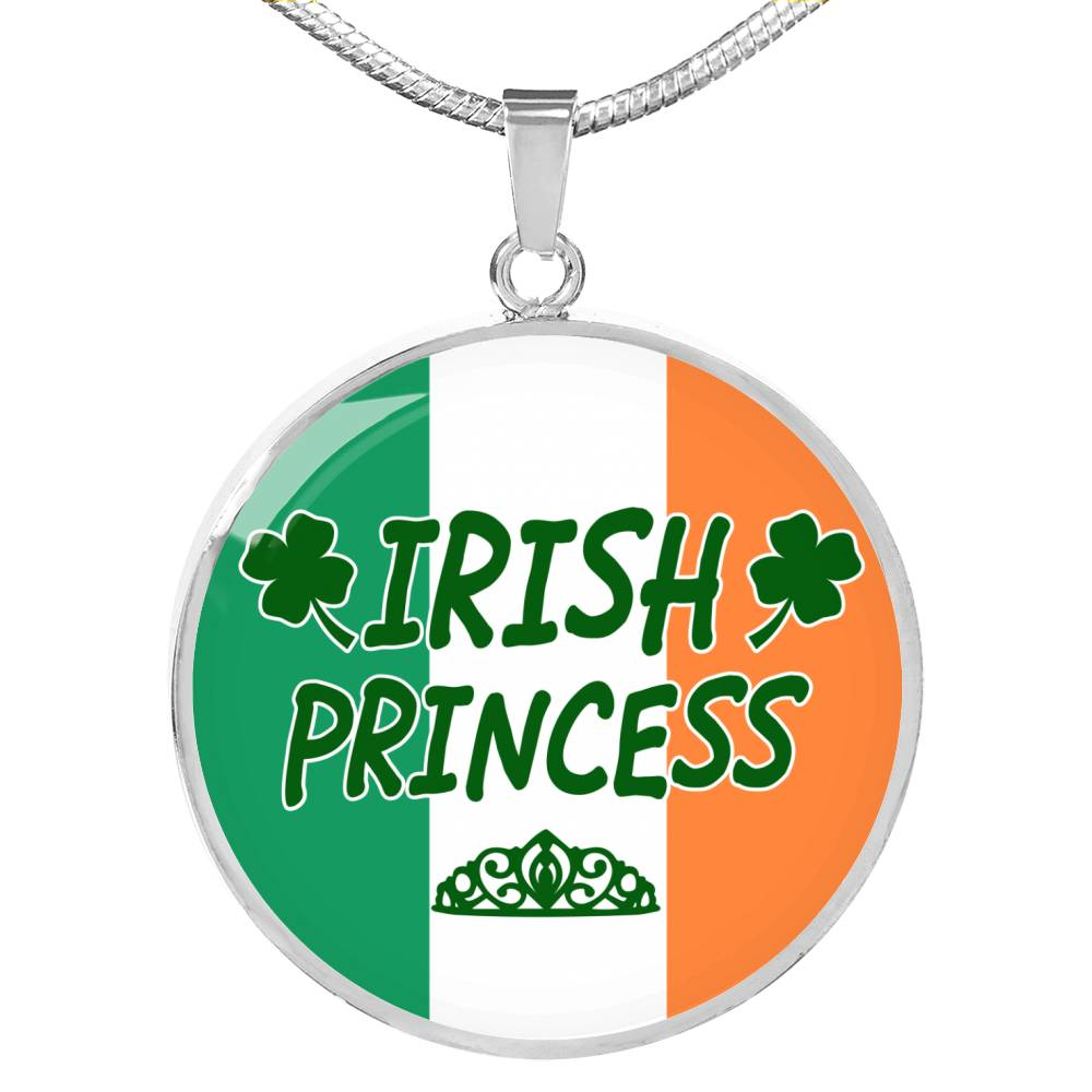 Irish Princess Circle Pendant Necklace Stainless Steel or 18k Gold 18-22""