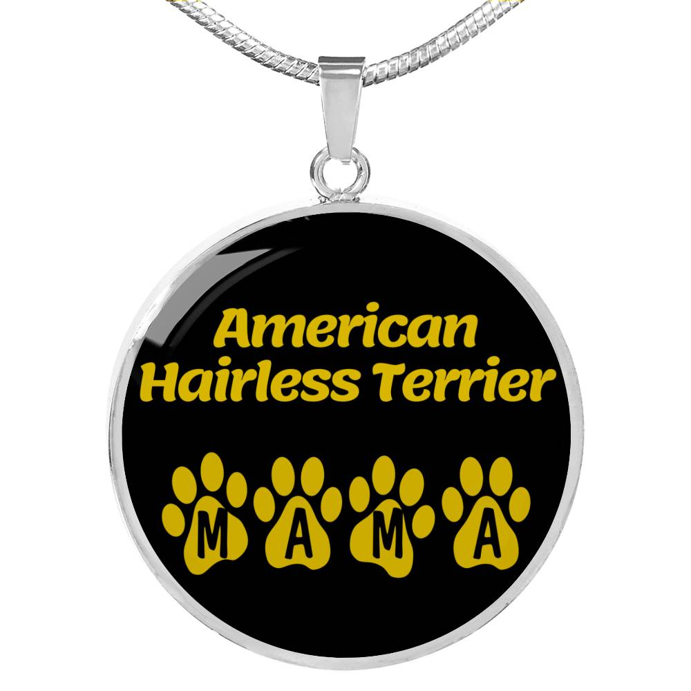 "Dog Lover Gift American Hairless Terrier Mama Circle Necklace Stainless Steel or 18k Gold 18-22"" , - Express Your Love Gifts"
