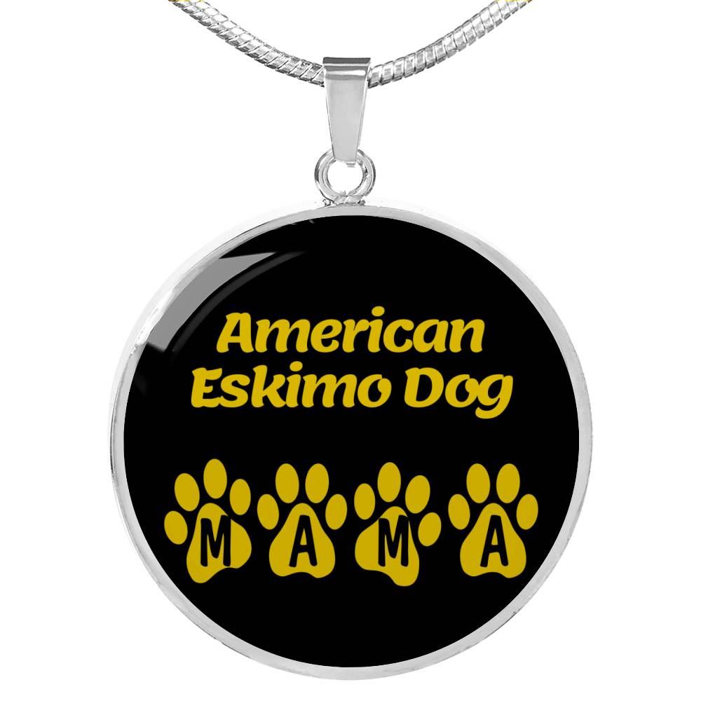 "Dog Lover Gift American Eskimo Dog Mama Circle Necklace Stainless Steel or 18k Gold 18-22"" , - Express Your Love Gifts"