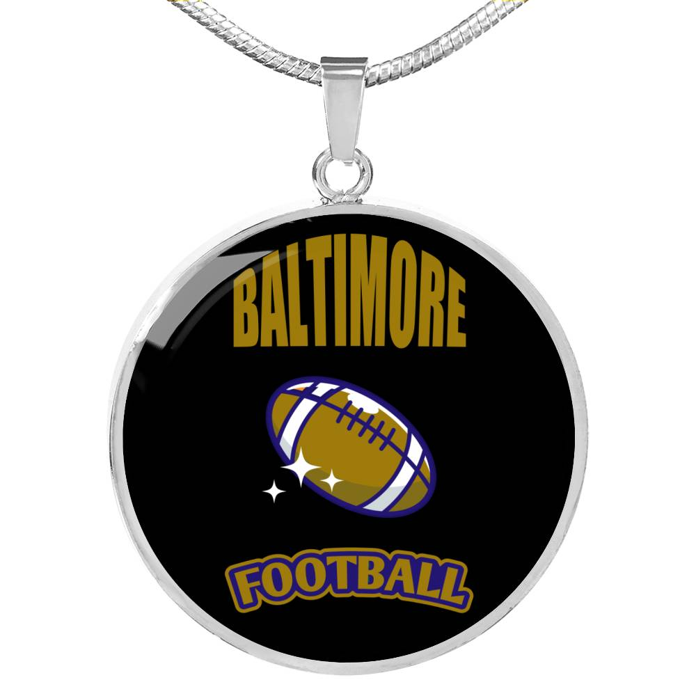 Baltimore Circle Pendant Football Fan Necklace Stainless Steel or 18k Gold 18-22""